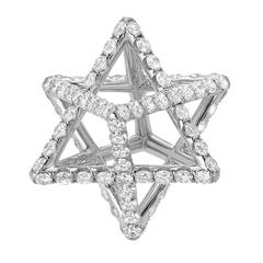 Star of David Merkaba Diamond Platinum Pendant Necklace
