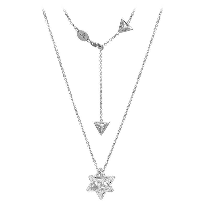 Star of David Merkaba Diamond Platinum Pendant Necklace 2