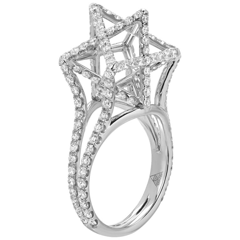 Merkaba Diamond Platinum Ring Three Dimensional Star For Sale