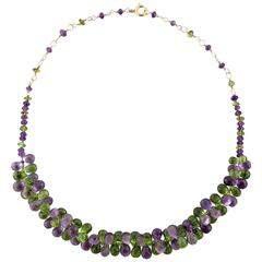 Gold Filled Necklace with Briolette Amethysts and Briolette Peridots