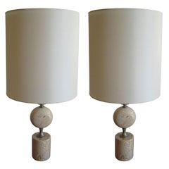 Pair of Barbier Nickel and Travertine Table Lamps