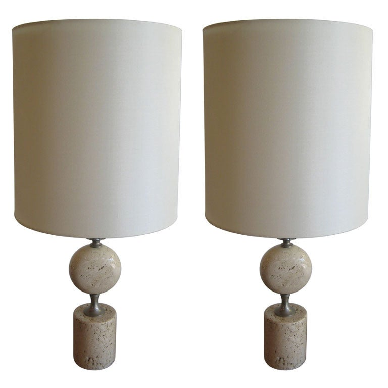 Pair of Barbier Nickel and Travertine Table Lamps For Sale