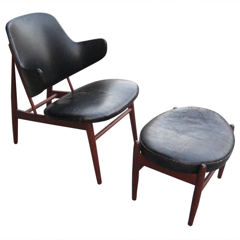 IB Kofod Larsen Teak And Leather Lounge Chair And Ottoman At 1stdibs