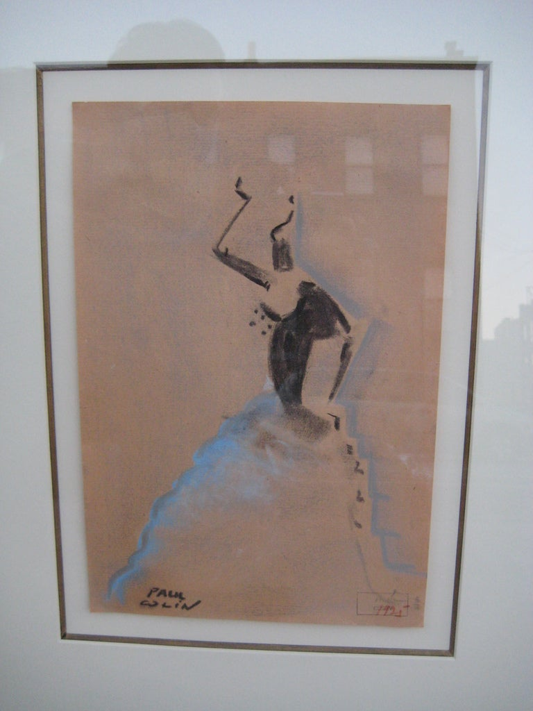 Paul Colin Art Deco Pastel Drawing In Good Condition For Sale In Hudson, NY