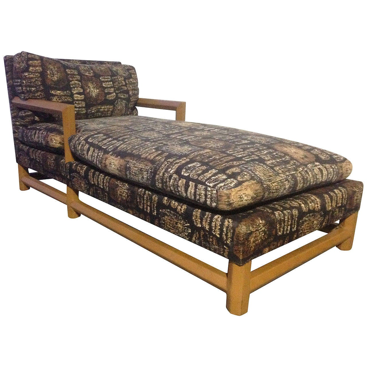 Leather and Batik Chaise Longue in the Style of Karl Springer For Sale