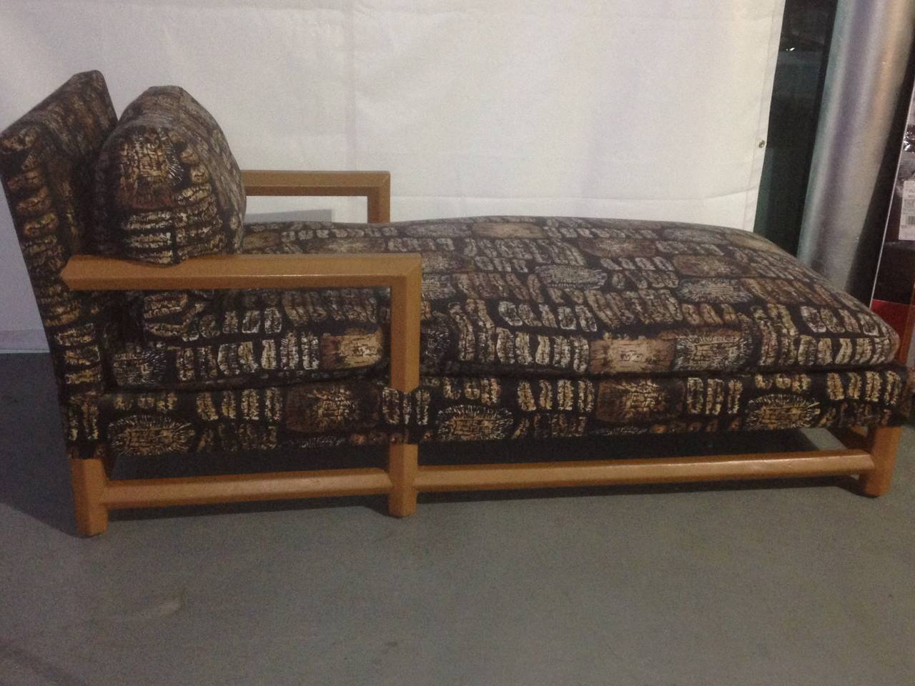 American Leather and Batik Chaise Longue in the Style of Karl Springer For Sale