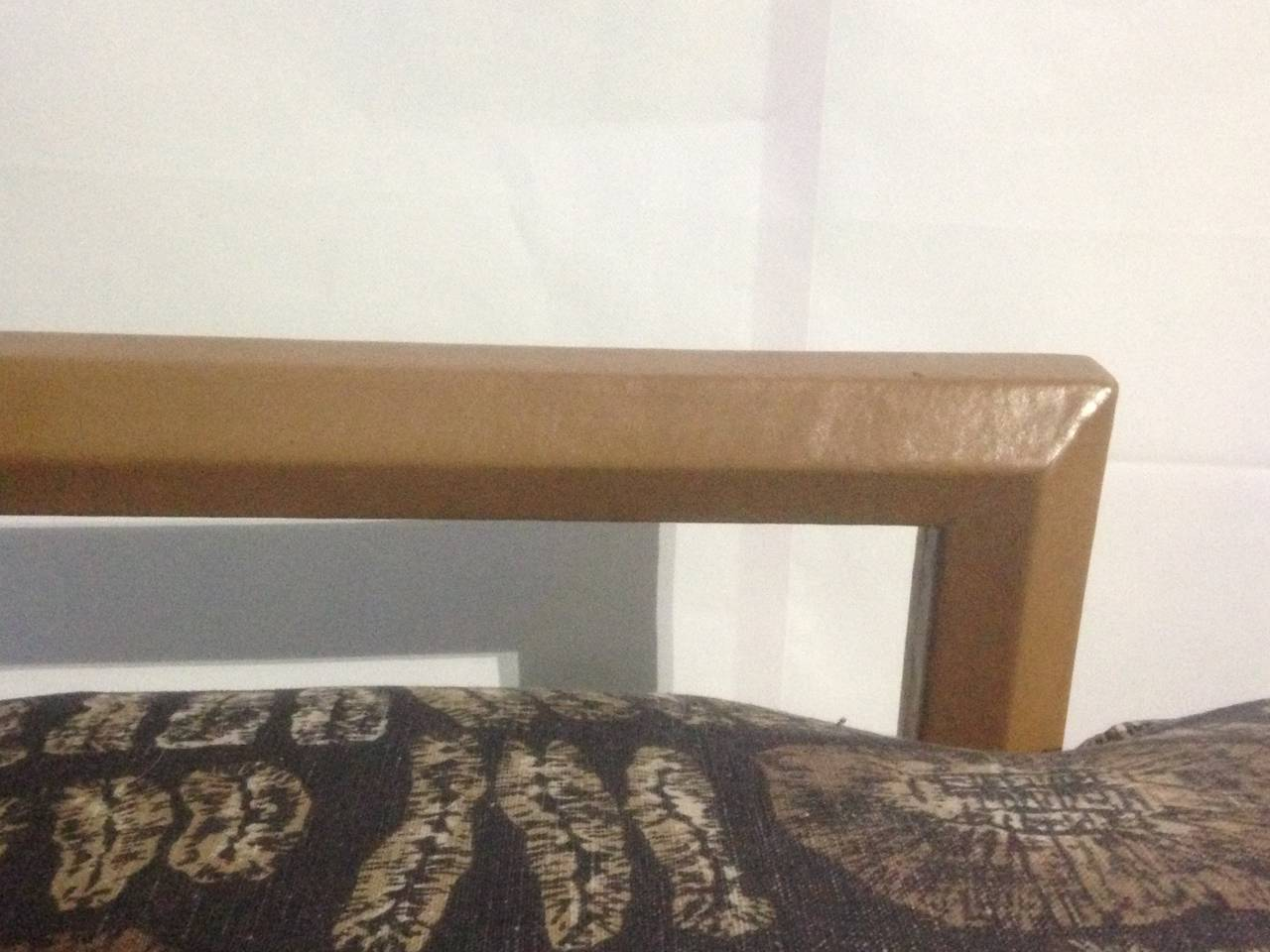 Leather and Batik Chaise Longue in the Style of Karl Springer In Good Condition For Sale In Hudson, NY