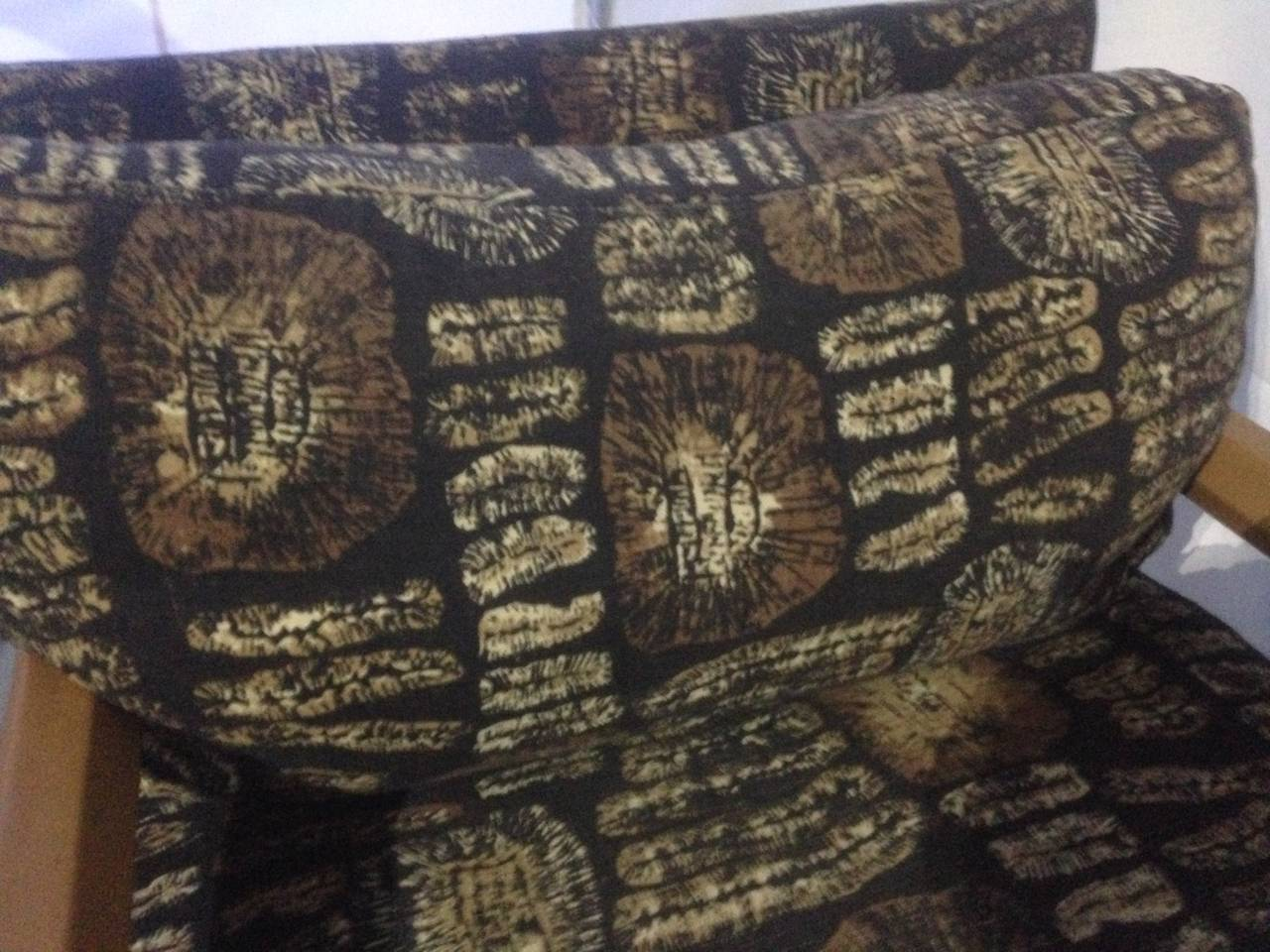 Late 20th Century Leather and Batik Chaise Longue in the Style of Karl Springer For Sale