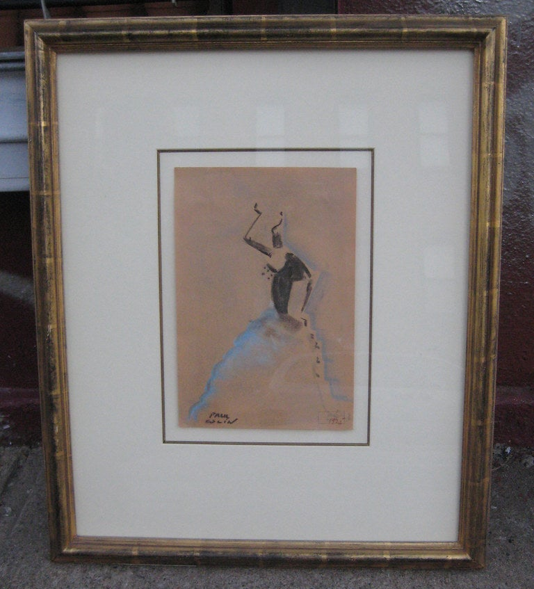 Wonderful stylized Art Deco study of cabaret dancer by legendary French artist Paul Colin. Drawing is signed, dated and stamped with Colin's seal. Framed and matted in conservation quality materials.