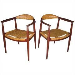 Early Pair of Hans Wegner Round Chairs