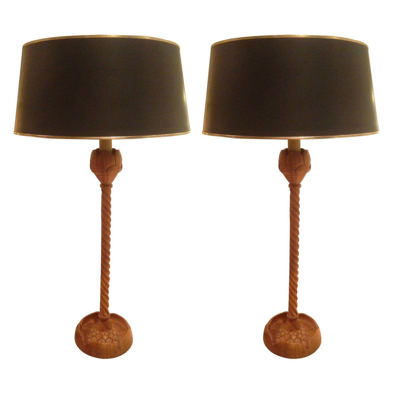 Home Decorator Collections Pair Of Large Scale Table Lamps By Arthur Court At 1stdibs