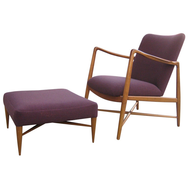 Finn Juhl Armchair and Ottoman For Sale
