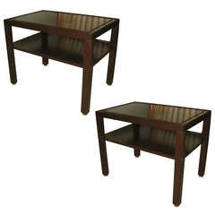 Pair of Dunbar Mahogany and Brass Two-Tier End Tables