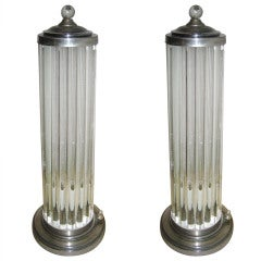 Pair 1940s Venini Canister Lamps