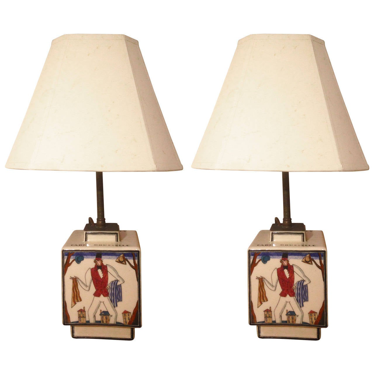 Pair of Robert Lallemant Ceramic Lamps For Sale