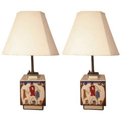 Pair of Robert Lallemant Ceramic Lamps