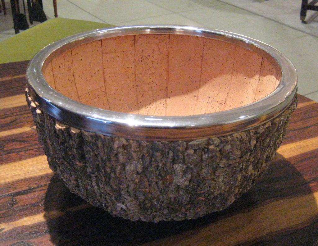 Italian Enormous Gabriella Crespi Bark and Chrome Center Bowl For Sale