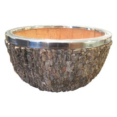 Enormous Gabriella Crespi Bark and Chrome Center Bowl