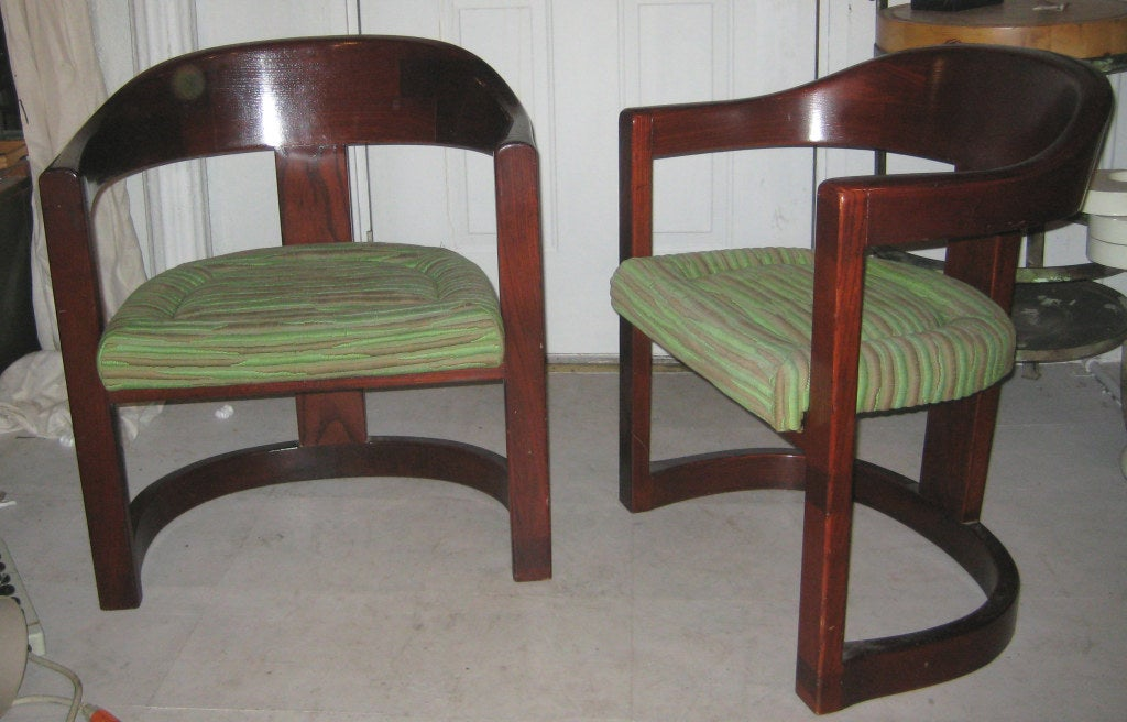 Pair of Oak Onassis Chairs by Karl Springer 2