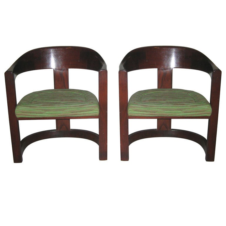 Pair of Oak Onassis Chairs by Karl Springer 1