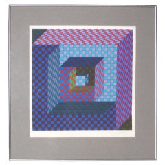 Victor Vasarely Op-Art Screenprint-- Signed