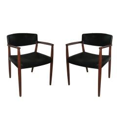 Pair of Bender Madsen and Larsen Teak and Leather Armchairs