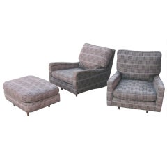 Pair of Oversized Harvey Probber Lounge Chairs and Ottoman