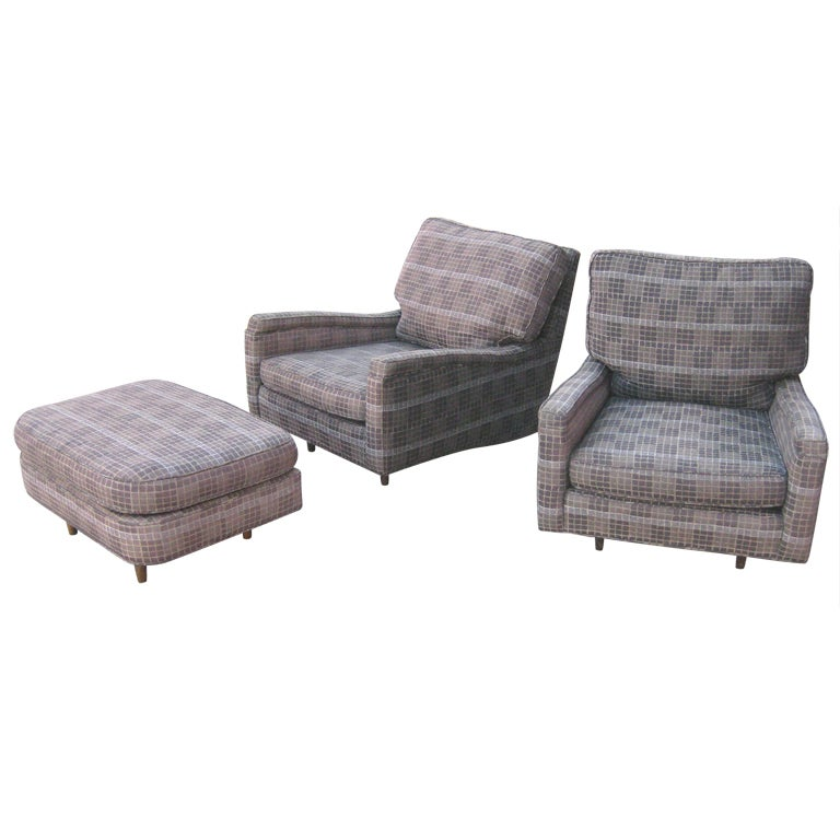 Pair of Oversized Harvey Probber Lounge Chairs and Ottoman at 1stdibs