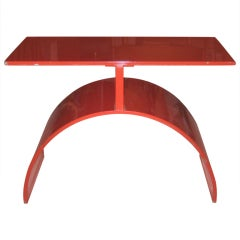 Red Enameled Iron Side Table