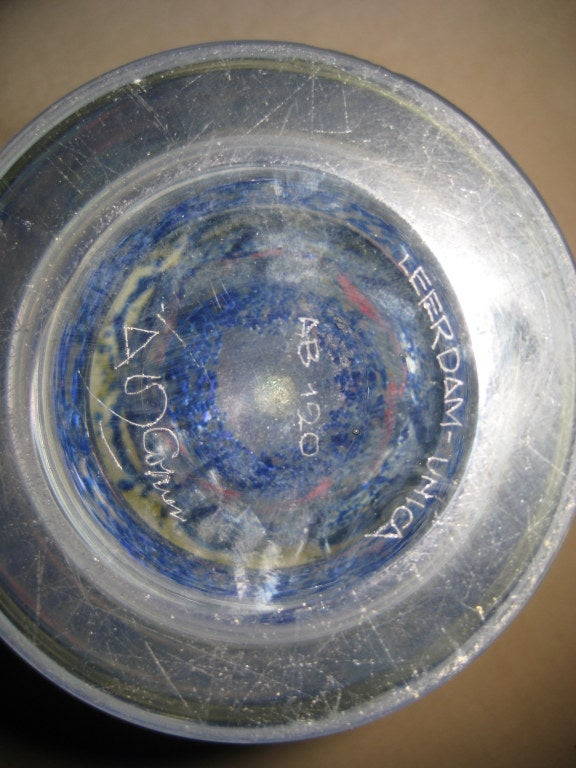 Adries Dirk Copier Unica Vase for Leerdam Glassworks 5