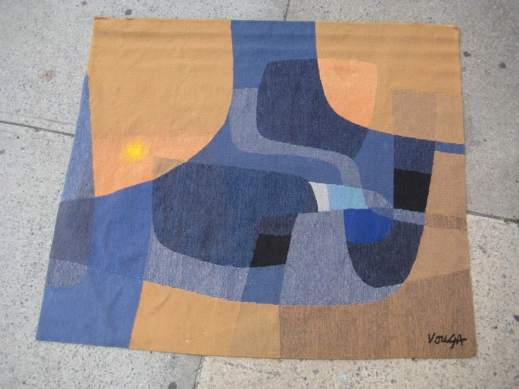 Beautiful abstract tapestry by Vouga, a highly regarded Belgium fibre artist working in Paris. Cloth label with hand signature on verso.