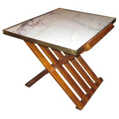 Dunbar Rosewood Brass and Marble Occasional Table