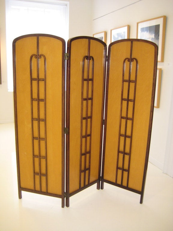 Bentwood fret with birch back panel screen with brass hardware by Koloman Moser for J&J Kohn