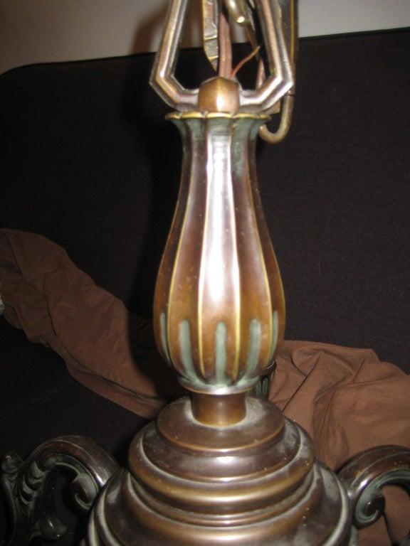 Mid-20th Century Just Andersen Danish Bronze Chandelier For Sale