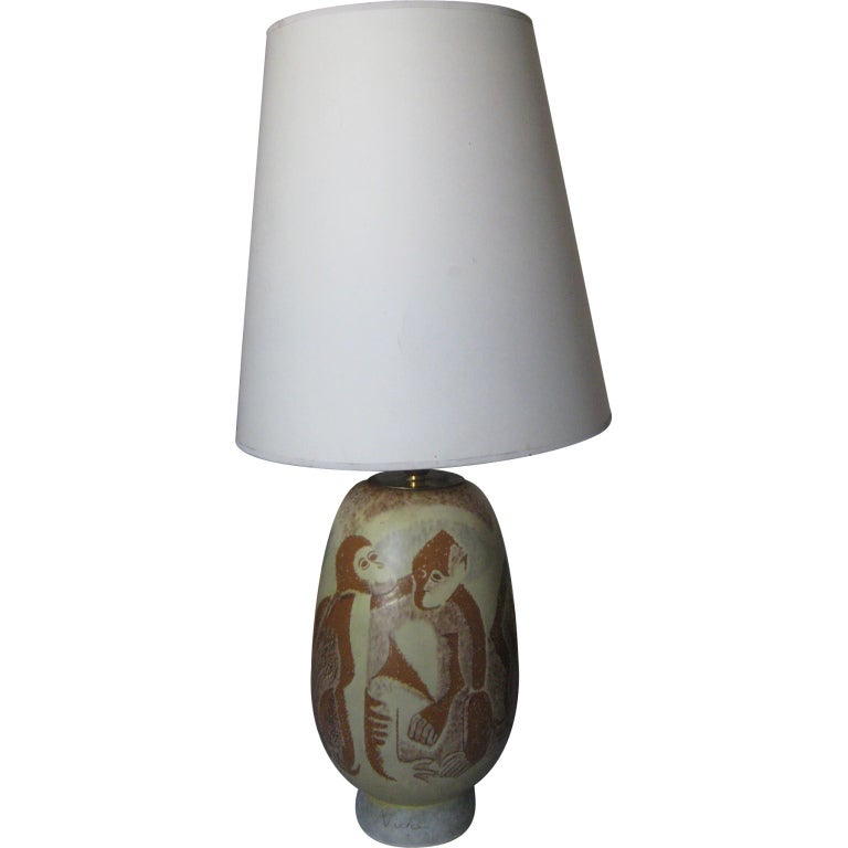 Vicke Lindstrand Ceramic Lamp for Uppsala Ekerby For Sale