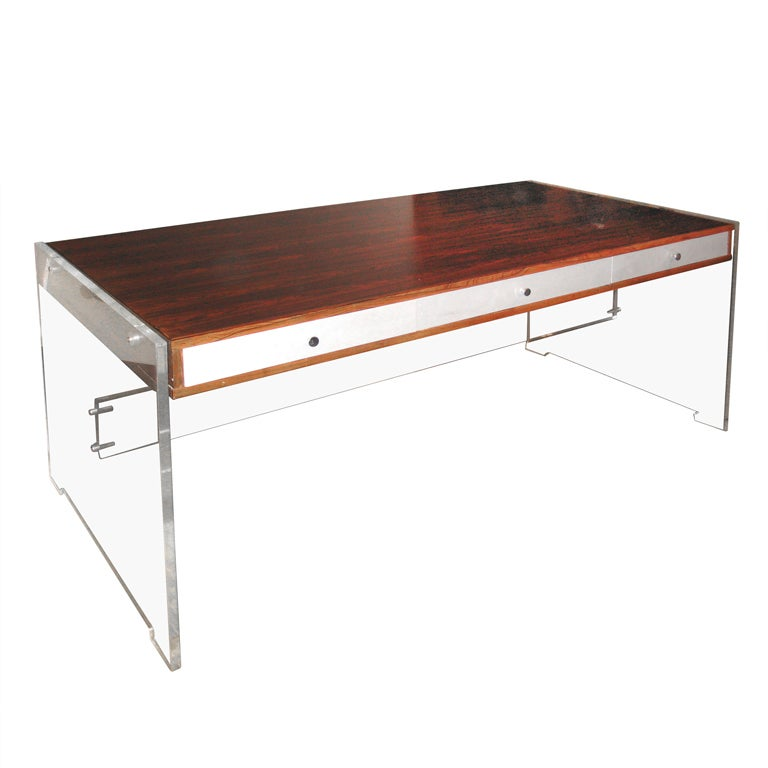 Rosewood and lucite desk by poul norreklit for georg for Perspex desk