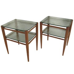 Rare Pair of Bruno Mathsson Oak and Glass Side Tables