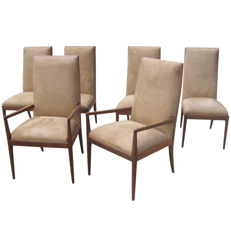 set of six high back mahogany dining chairs attributed to robsjohn