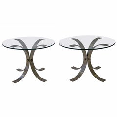 Pair of French Brushed Aluminum Tables