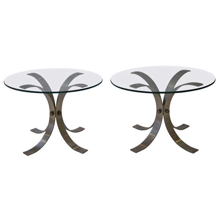 Pair of French Brushed Aluminum Tables For Sale
