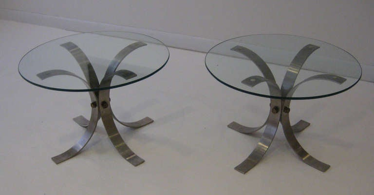Mid-Century Modern Pair of French Brushed Aluminum Tables For Sale