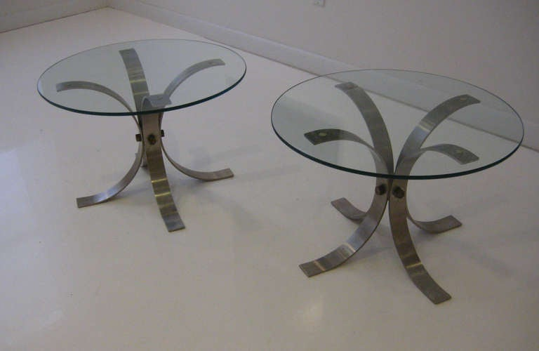 Pair of French Brushed Aluminum Tables In Good Condition For Sale In Hudson, NY