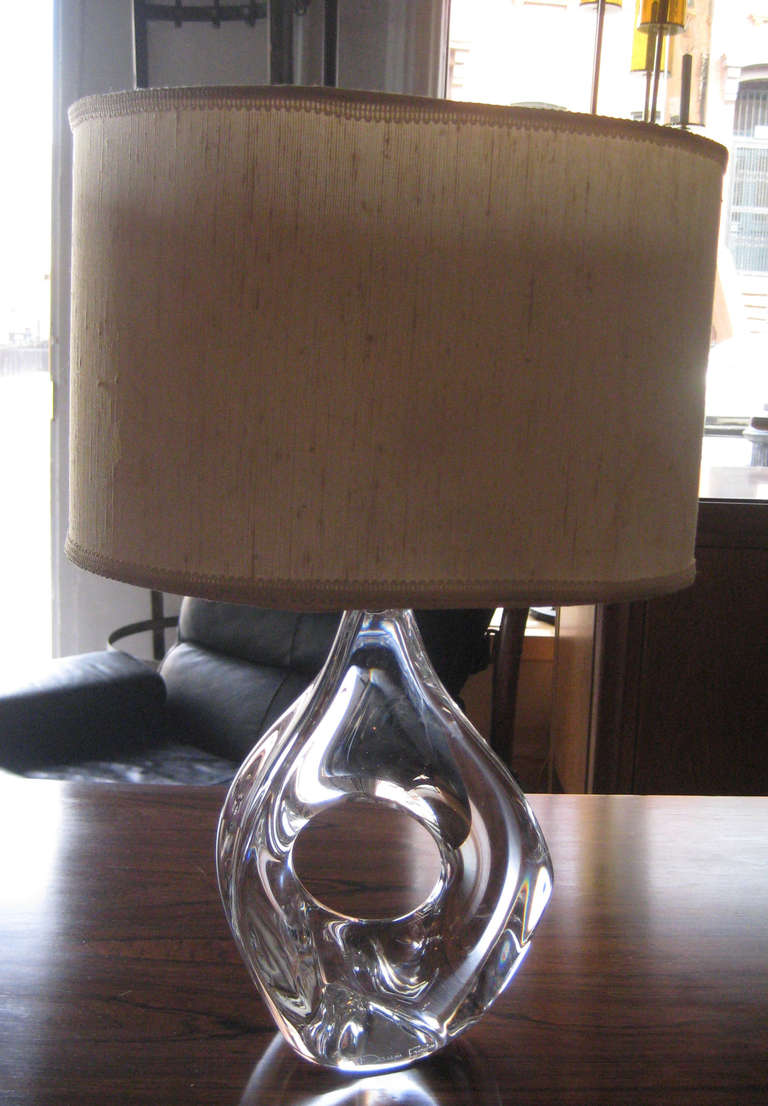 French Pair of Daum Crystal Lamps For Sale