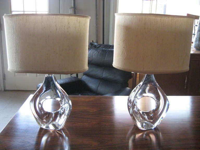 Mid-Century Modern Pair of Daum Crystal Lamps For Sale