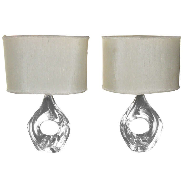 pair of daum crystal lamps for sale at 1stdibs. Black Bedroom Furniture Sets. Home Design Ideas
