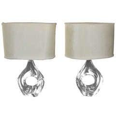 Pair of Daum Crystal Lamps