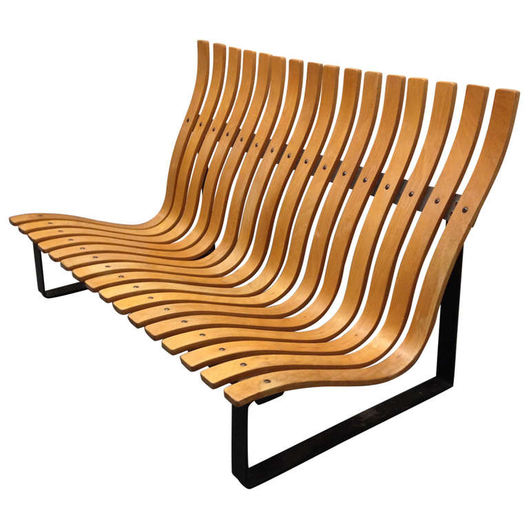 Bentwood and Steel Settee by Kho Liang Li For Sale