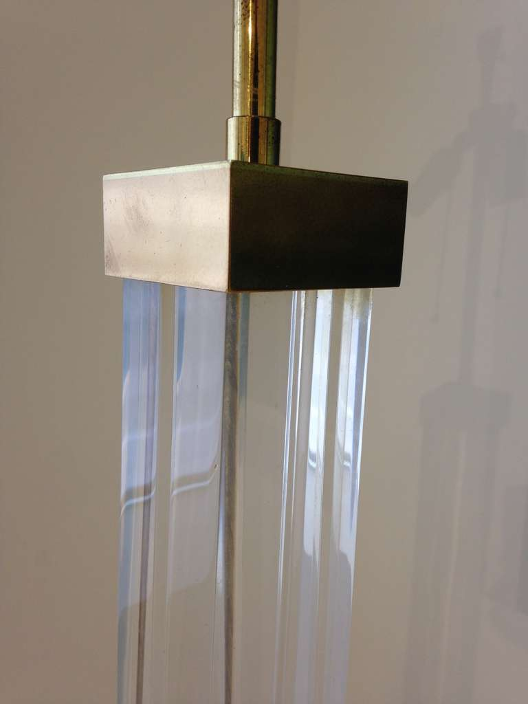 American Karl Springer Lucite and Brass Floor Lamp For Sale