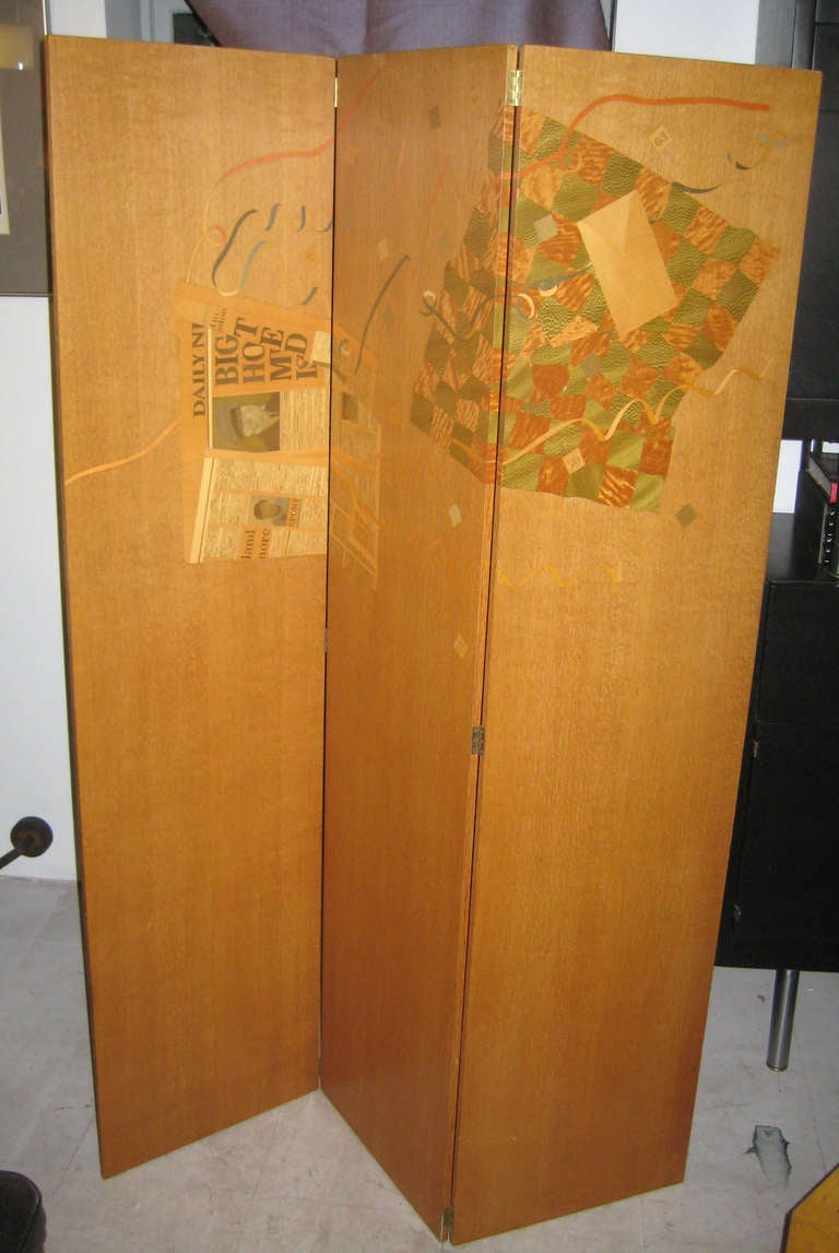 Modern Spectacular Trompe L'Oeil Marquetry Screen by Peter Niczewski For Sale