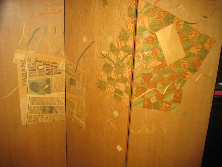 English Spectacular Trompe L'Oeil Marquetry Screen by Peter Niczewski For Sale